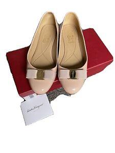 Authentic Salvatore Ferragamo Varina Pink Patent Ballet Flat Size 8C