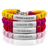 ID Stoff Armband mit Edelstahlplatte inkl. Gravur nach Wunsch 9 Farben Sommer