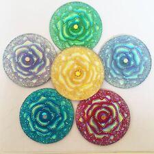 DIY6pcs mix 35mm round AB Resin rose FlatBack Rhinestone Applique/Jewelry design