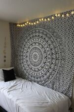 Hippie Elephant Mandala Tapestry Indian Black & White Queen Wall Hanging Throw