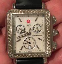 MICHELE 71-6000 DECO DIAMOND BEZEL MOP DIAL SPORTS BLACK BAND 2 ADDITIONAL BANDS