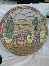 Handmade Hooked Rug Holy family Simpson Christmas decorative display Mary Joseph