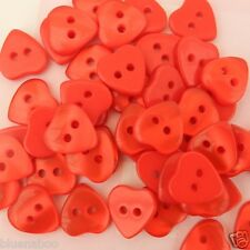 10 tiny heart buttons  sizes 8mm 10mm & 11mm  pink red white lilac ......
