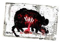 """Original JUSTIN AERNI circa 2021 PAINTING dark art macabre : """"DEAD RAT 4"""""""