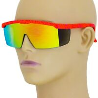 Mens SEMI RIMLESS Shield WRAP AROUND Sporty Sunglasses Red Neon Multicolor Frame