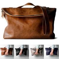 Men Women Leather Handbag Business Shoulder Bag Laptop Tote Travel Rucksack