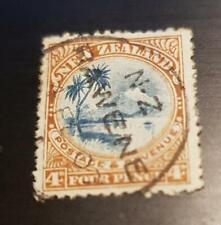 FRANCOBOLLO USATO 1902 FOUR PENCE NEW ZELAND NUOVA ZELANDA NEU SEELAND ZELANDE