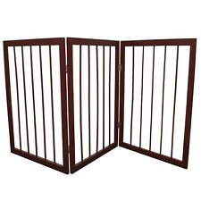 More details for seconds - 3 section wooden folding pet gate - brown ls15505s