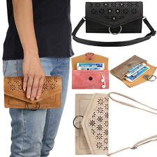 Universal Credit Card Slot Wallet Bag Leather Case Cover For Phone Shoulder Bag