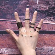 6pcs Black Beard Arrow Shape Midi Finger Rings for Women Winding Crystal Jewelry