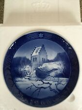 "Royal Copenhagen Christmas Plate 1966 ""Blackbird at Church"""