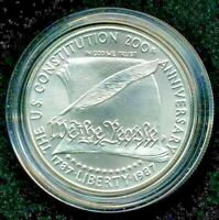 """1987 Silver Memorial Coin! BU """"WE THE PEOPLE""""  $1  US MINT US Constitution!"""