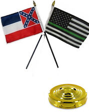 "Mississippi State Thin Green Line USA 4""x6"" Flag Desk Set Table Stick Gold Base"