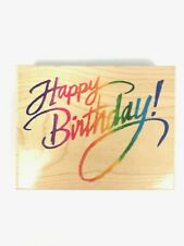 STAMPENDOUS! LARGE HAPPY BIRTHDAY SCRAPBOOKING STAMP VTG 1996 USA MADE WOOD