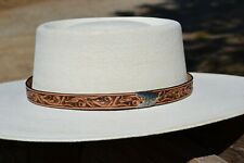 "1"" Western Floral Carved Leather Hat Band Square Tip Buckle - Antiqued Russet"