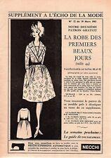 ▬► Patron Couture Écho de la Mode - 1961 N°12 - Taille 38 40 42 - Robe