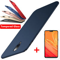 For One Plus 6T 6 5T 5 3T Slim Matte Shockproof Hard Case Cover + Tempered Glass