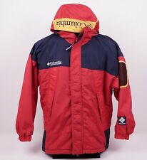 Vtg 90s Columbia Sport Men's Sz Large Spell Out Red Colorblock Hooded Ski Jacket