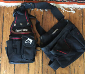 Husky Carpenter Contractor utility Toolbelt work bag + Carhartt Suspenders
