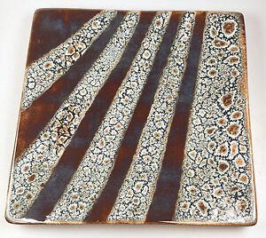 Dark Gunmetal Brown Grey Blue Modern Square Dish Plate Ceramic Pottery Shiney