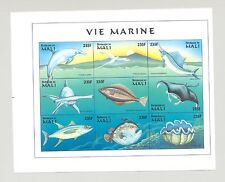 Mali #898 Fish, Shells 1v M/S of 9 Imperf Chromalin Proof