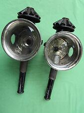 Paire lanternes fiacre calèche  tacot voiture tôle noire ancienne verres bougie