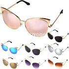 Womens Gold Metal Frame Cat Eye Oversized Designer Retro Vintage Sunglasses