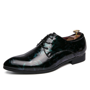 Men Lace Up Pointy Toe Patent Leather Oxfords Formal Dress Wedding British Shoes
