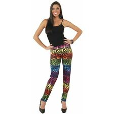 Women's Neon Rainbow Tiger Print Animal Leggings Pants Costume Lisa Frank 90's