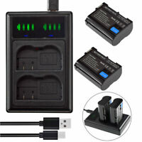2x Battery +LED SLIM Charger for EN-EL15 (27011) EL15b EL15c Nikon Z5 Z6 Z7