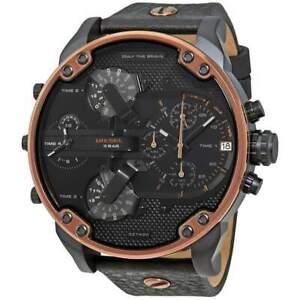 Diesel Mr. Daddy 2.0 Black Leather Copper Trim Chronograph Men's Watch DZ7400