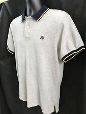 Aeropostale Mens Polo Shirt Size L, Gray W/Navy Trim And Gold Stripe