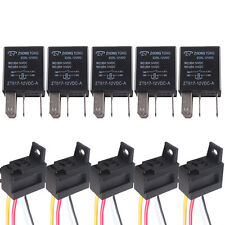 5 X Universal Black 12V 30A SPST Relay Fuel Pump Horn Car Kit 4P 4 Wire WYS