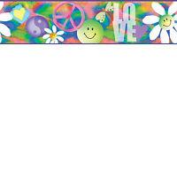 Retro Girls Love & Peace Easy Walls Wallpaper Border BBC92331B / CK92331B