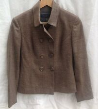 PIAZZA SEMPIONE NEW AUTH $999 Women's Brown Wool Double Breasted Jacket Size 6