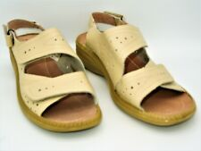 CUSHION-WALK Ladies Sandals Size 8E Flexable Comfort Leather Lined Beige