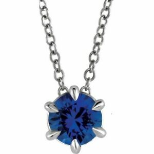 "Blue Sapphire Solitaire 16-18"" Necklace In Platinum"