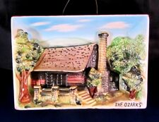 """3 Dimensional Plaque-""""The Ozarks"""" - 7 1/2"""" X 5""""-Cabin In Woods-Exc. Cond."""