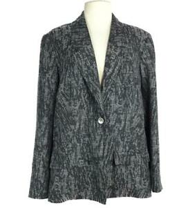 Coldwater Creek Women 20 Abstract Rayon Blend 1 Button Blazer Relaxed Gray Black