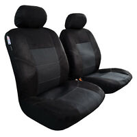 Premium Car Seat Covers Front Set Black for Ford Ranger Dual Cab 2015-On