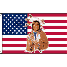 Usa Indian Flag 5Ft X 3Ft Chief Native American Banner With 2 Eyelets New
