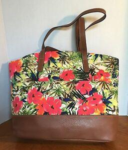 Croft & Barrow Tropical Floral Tote handbag Faux Leather and Canvas Purse NWT