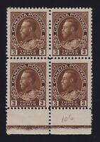 Canada Sc #108 (1918) 3c brown Admiral Type D Lathework Block Mint H