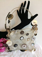 NEW DESIGNER MOTHER OF PEARL BUTTONS CHIFFON EVENING BAG UNIQUE BRIDAL BAG GIFT