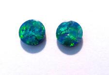 Pair Beautiful Australian Opal Doublets 6mm rounds Gem Grade (3085)