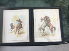 Signed Paul Whitney Hunter Set Of 2 Water Color Horse Paintings