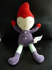 i6- Doudou poupée Lutin  MARESE 30 cms violet rouge vert  EXCELLENT ETAT