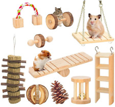 New listing GoodsBeauty 10 Pack Hamster Chew Toys, Natural Wooden Cage Toys,Seesaw,Swing,P in