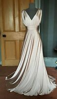 BEAUTIFUL BIBA LONG CHAMPAGNE GRECIAN EVENING DRESS, SIZE 12