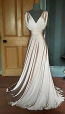 BEAUTIFUL BNWT BIBA LONG CHAMPAGNE GRECIAN EVENING DRESS, SIZE 12